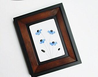 """Sea Glass Art: Blue Daisies - 8.5"""" x 10.5"""" Black Frame with 2 Mats - pebble art, modern art, flower art, nature art, housewarming, beach art"""