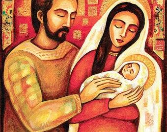 Holy Family, Virgin Mary Jesus, mother child, religious painting, Christian art, beauty painting, mother son, feminine decor print 8x10+