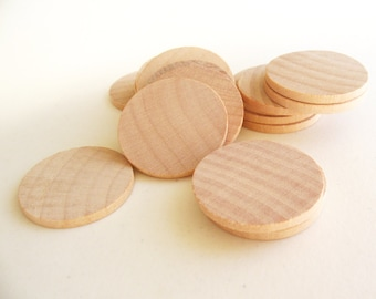 "100 Unfinished Wooden Circles 1.50"" -Small Wooden Circles -Wooden Circles Supplies -Natural Wood Circles -Wood Circles Beads"