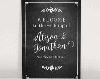 Chalkboard style wedding welcome sign