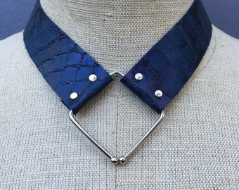 "Limited edition ""Converge"" Midnight blue snakeskin embossed leather collar necklace with diamond shaped hardware"