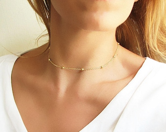 Gold Beaded Choker Gold Choker Chain Choker Chain Necklace