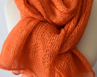 Linen Scarf Knit Linen Shawl  Natural Summer Wrap in Orange for Women