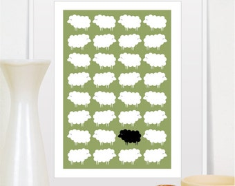 Black sheep, Black Sheep Print, Black Sheep Poster, Sheep Nursery, Sheep illustration, Natural poster, Green Decor, Sheep Art, Sheep Gift