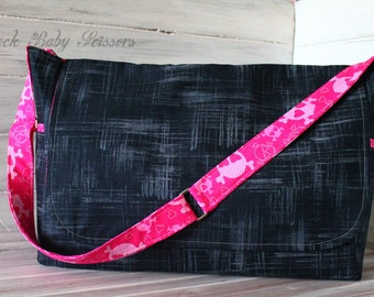 Design Your Own Custom made Messenger Style Diaper Bag with adjustable Cross Body strap Your choice of fabrics