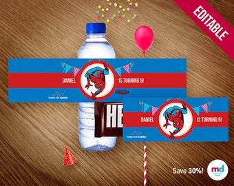 Spiderman Water Bottle Chocolate Labels, Candy Bar Package, Candy Wrapper, Printables, Favors, Birthday Party, Avengers, INSTANT   DOWNLOAD