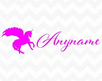 Personalised winged unicorn + name vinyl sticker custom decal for wall door mirror car laptop nursery