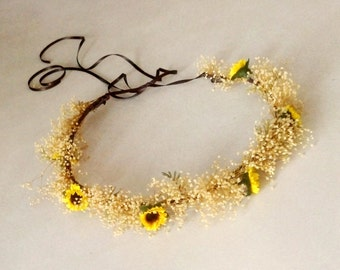 Sunflower halo Bridal hair wreath flower crown dried Babys breath mini sunflowers Summer Woodland headpiece wedding accessories