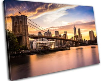 New York Booklyn Bridge Skyline Cityscape Canvas Print Home Decor- Abstract Wall Art - Modern Prints - Ready To Hang