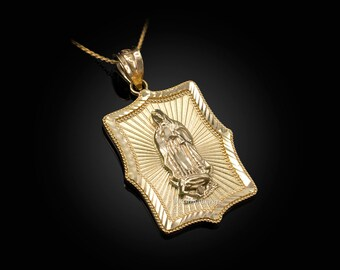 Our Lady of Guadalupe Yellow Gold DC Pendant Necklace (10k, 14k)