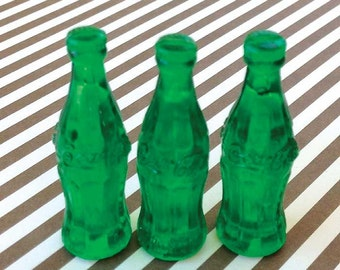 8 Coke Bottle Cake Toppers / Retro Coca Cola Cupcake / Miniatures for Picnics, Sock Hops, 1960s Parties