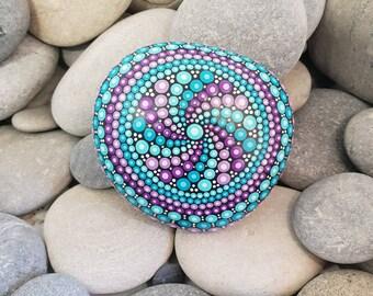 Purple Painted Rock - Turquoise Mandala Stone - Meditation Mandala Rock - Dot Art - Chakra - Paperweight