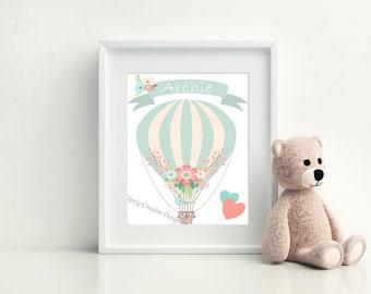 Personalised Nursery Print, A4, Personalised Nursery Art, Baby Gift, Personalised Nursery Wall Decor, Nursery Print, Hot Air Balloon Art