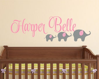 Elephant Wall Decal, Nursery Name Sign, Girl Name Decal, Vinyl Stickers, Nursery Wall Art, Custom Name, Wall Decals Nursery, Kids Room Decor