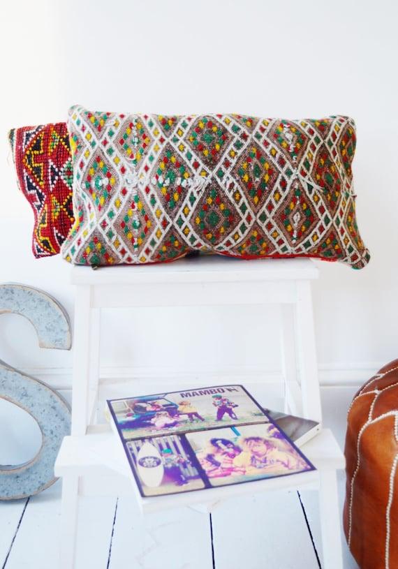 Vintage Moroccan Pattern Kilim Berber Carpet Cushions-lumbar, vintage cushions, christmas gifts, gifts, No.8, Ramadan, Eid