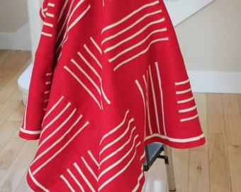 "Heavy weight red & white wool felt blanket 49"" X 49"""