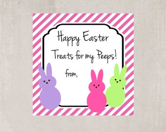 Easter tags, Easter gift tags, Easter treat tags, Easter Peeps treat tags, Peeps tags, Easter Peeps tags, Easter basket tags, gift tags, tag