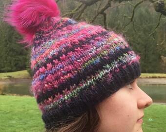 Mulberry Improv Handspun Hat~ Fur Pom Pom~ winter hat~ slouchy hat~ handmade knit