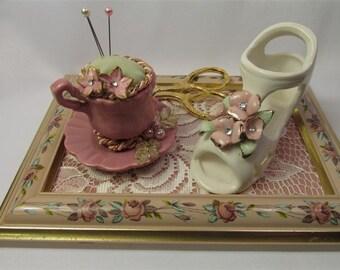 SALE: 30.00 Darling Shoe and  Tea Cup Pin Cushion Set