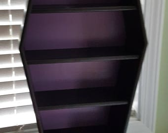 Large Coffin shelves/ coffin display shelves/ black and purple/ wall shelving/ gothic shelves/ gothic display/ craft show display/ shelf