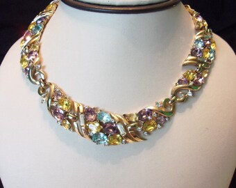 Crown TRIFARI Vintage Glass Rhinestone Gold Plate Link Choker Necklace 1953 Spring Melodies