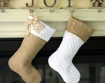 Burlap and White Minky Stockings - Set of Two(2)