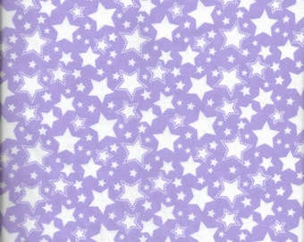 """New Starry Nights Purple with White Stars 100% cotton flannel fabric 27"""" x 43"""" - Last Piece"""