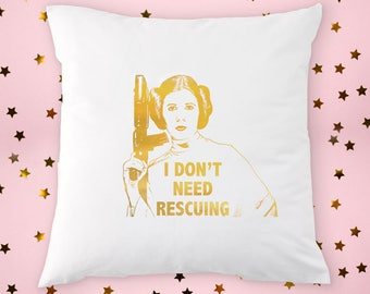 PRINCESS LEIA Gold Foil PILLOW, Inspirational Quote Star Wars Print Gifts for Her, Gold and White Pillow Cover, Decorative gold foil pillow