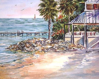 Little Harbor Resort ACEO Ruskin  Florida Art Beach print seascape 857  landscape ocean sea