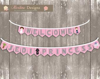Pink Chevron Star Wars Baby Shower Bunting Banner (Welcome, Jedi Princess) INSTANT DOWNLOAD