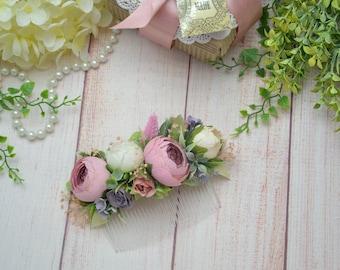 Rustic wedding, Hair comb, Flower headpiece, Flower accessory, Ivory hair comb, Pink flower comb, Rustic bridal comb, Pink Floral comb