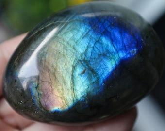 Labradorite, Labradorite Palm Stone, Healing Stone, Rainbow Flash, Purple Labradorite, Love Stone