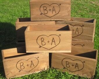 5 Wood Planter Box, Rustic Wedding Centerpiece, Rustic Wedding Decor, Wedding Decor, Rustic Wedding Centerpiece, Rustic Home Decor