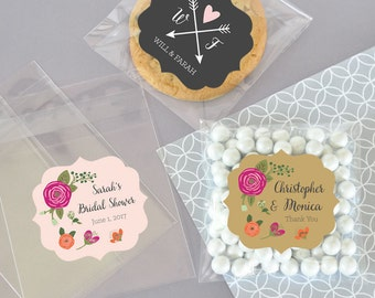 Clear Candy Bags - Clear Cookie Bags - Cellophane Cookie Bags - Personalized Wedding Favor Cookie Bags -  (EB2394MP) set of 24