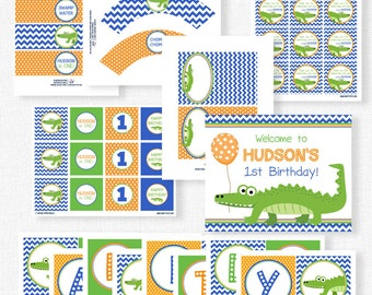 Alligator Birthday Party Printables, Alligator Party Decorations, Gator Boy Birthday, Printable Party Package