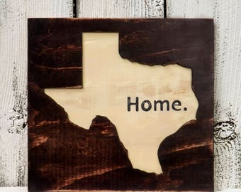 Wood Home Sign, Rustic Home Decor, State Wall Art, Home Wall Decor, Rustic Decor, Wood State Cutout, Home Sign Decor, Wood Wall Art