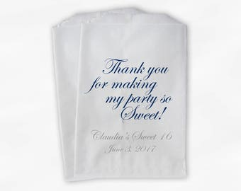 Sweet 16 Party Personalized Candy Buffet Paper Treat Bags - Set of 25 Navy Blue and Gray Thank You Favor Bags with Name and Date (0143)