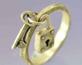 Padlock and Key Silver Stacking Ring.