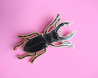 Stag Beetle Brooch. Big Beetle Pin. Large Stag Beetle. Laser Cut Bug Brooch. Insect Jewellery. Curiosities. Natural History Illustration