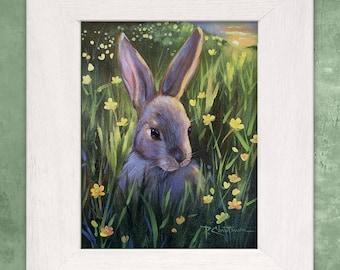 Childrens Art Wild Bunny Rabbit Art Spring Yellow Buttercups Original Painting on Canvas - Home Decor