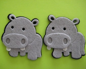 """Hippo Felt  Animal Ornaments for Zoo, Forest, Safari, Jungle Theme, Crafting, Embellishment, Party Favors, 2"""" x 2"""" / 50 mm x 50 mm, 6 pieces"""