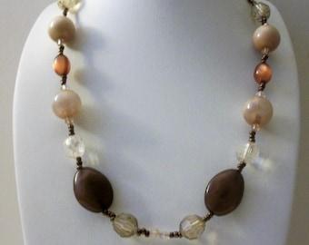 ON SALE Vintage Moon Glow Earthy Plastic Acrylic Seed Beads Necklace 121116