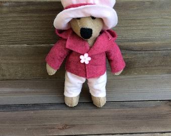 Miniature bear handsewn in felt