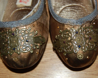 Steampunk Hand decorated ballet flats