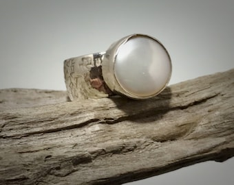 Sterling silver and freshwater coin pearl ring
