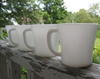 Vintage Federal White Milk Glass Mugs set of 4 and Black Metal Mug Tree