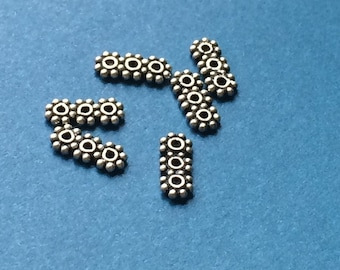 Silver Spacer Beads, Bali silver 3 hole beads, daisy beads pack of 6