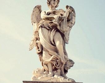 travel photography, rome italy, angel statue, europe photography, ponte castel santangelo, religous decor, living room art R08