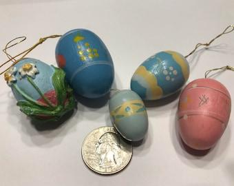 5 piece Vintage Easter Egg ornaments mix, 1 1/4 - 1 1/2 inch (HR53)
