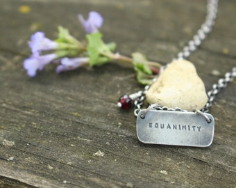 """EQUANIMITY PENDANT - Handmade - Sterling Silver - Garnet Accent - 18"""" Chain - Anxiety - Depression - Mental Illness - Ready To Ship - Gift"""